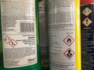 cans of hazardous substances showing their hazards